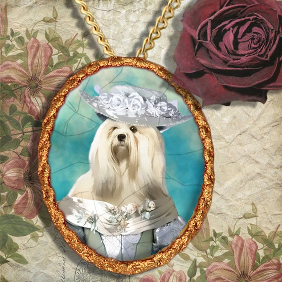 Lhasa Apso Jewelry Brooch Handcrafted Ceramic PENDANT OPTINAL by Nobility Dogs