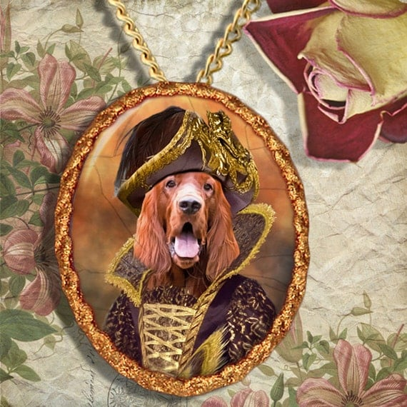 Irish Setter Dog Jewelry Brooch Handcrafted Ceramic by Nobility Dogs