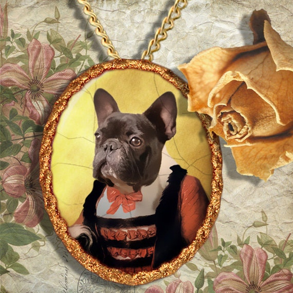 French Bulldog Jewelry Brooch Handcrafted Ceramic by Nobility Dogs