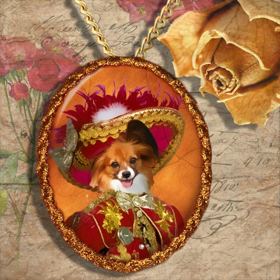 Papillon Dog Jewelry Brooch Handcrafted Ceramic by Nobility Dogs