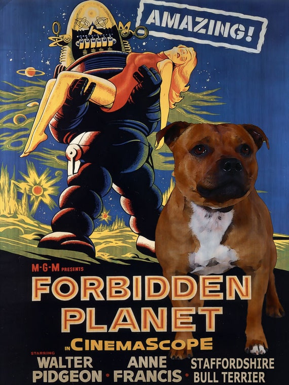 bull terrier movie staffordshire bull terrier vintage movie style poster canvas 964