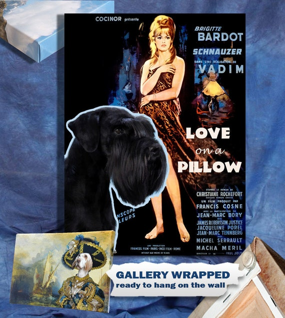 Schnauzer Vintage Poster Canvas Print  - Love on a Pillow Movie Poster by Nobility Dogs