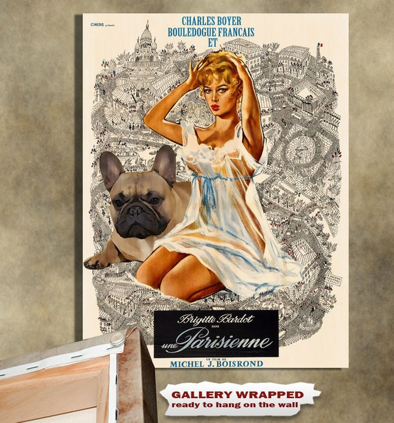 French Bulldog Vintage Movie Style Poster Canvas Print  NEW Collection by Nobility Dogs