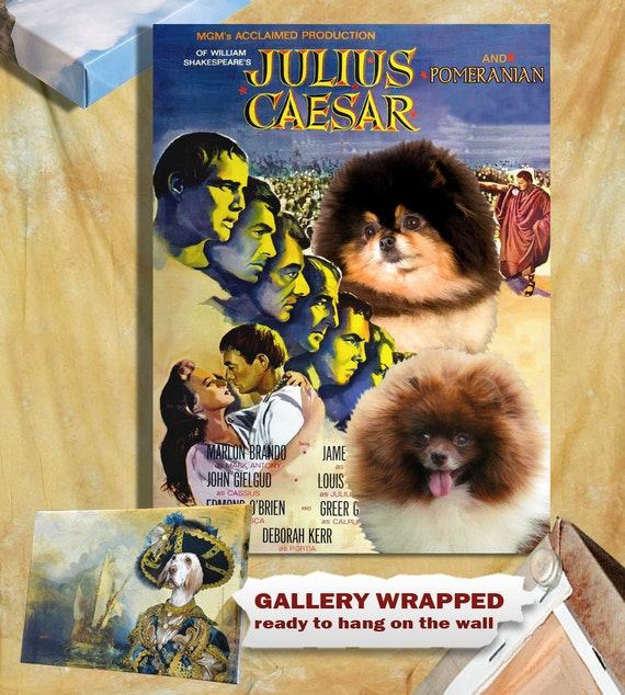 Pomeranian Vintage Poster Canvas Print  - Julius Caesar Movie Poster by Nobility Dogs