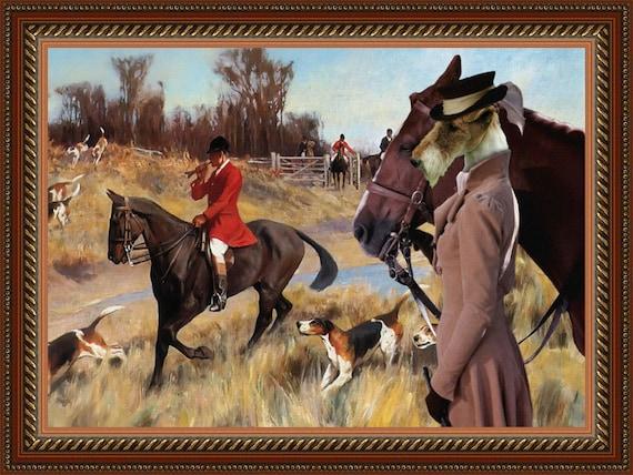 Fox Terrier Wire Art CANVAS Print Fine Artwork of Nobility Dogs Dog Portrait Dog Painting Dog Art Dog Print