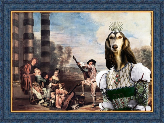 Saluki ART/Saluki Portrait/CANVAS  Print/Fine Artwork/Dog Portrait/Dog Painting/Dog Art Print/Custom Dog Art - Portrait By Nobility Dogs