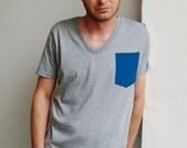 Blue Pocket V-neck T-shirt - Organic Cotton Mens T-shirt