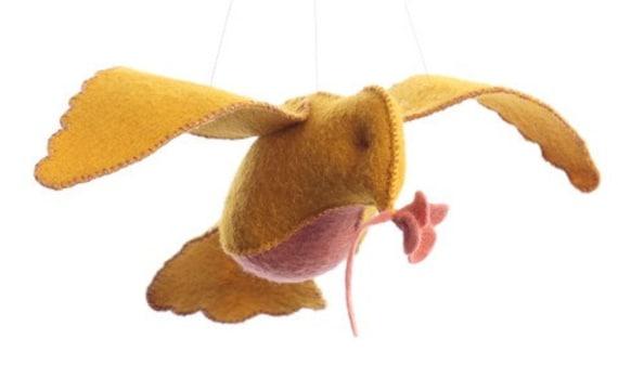 Yellow/pink bird in flight kit, sewing kit, DIY sewing kit, crafts for kids, beginner sewing kit, bird ornament kit, hand sewing kit