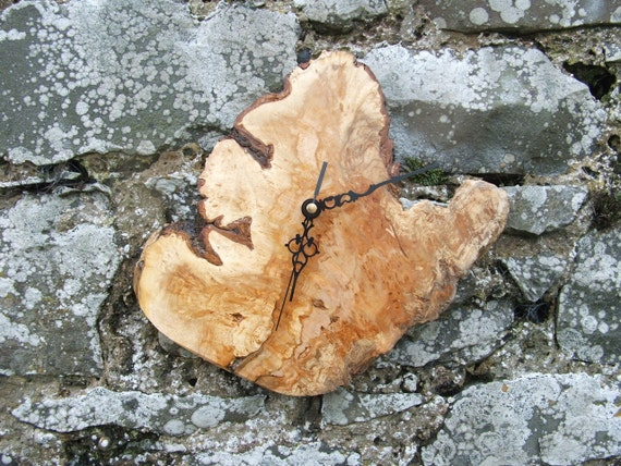 Natural Edge Burl Rustic Wood Clock. Stunning Wooden Wall Clock made From a Natural Burr.