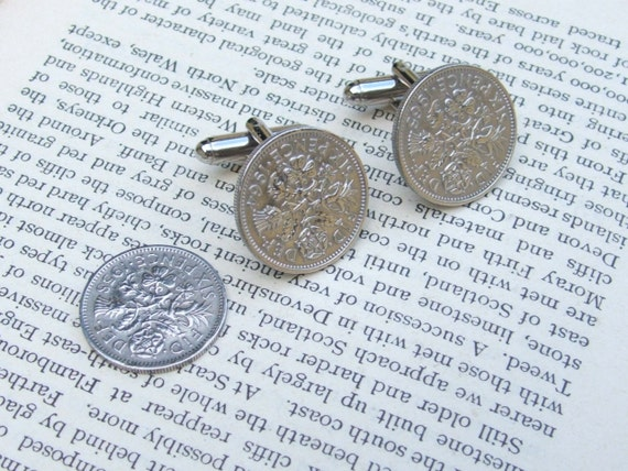 Lucky Sixpence Cufflinks. Gift Boxed Handmade Wedding Cuff links Supplied With an Extra Sixpence For The Brides Left Shoe.