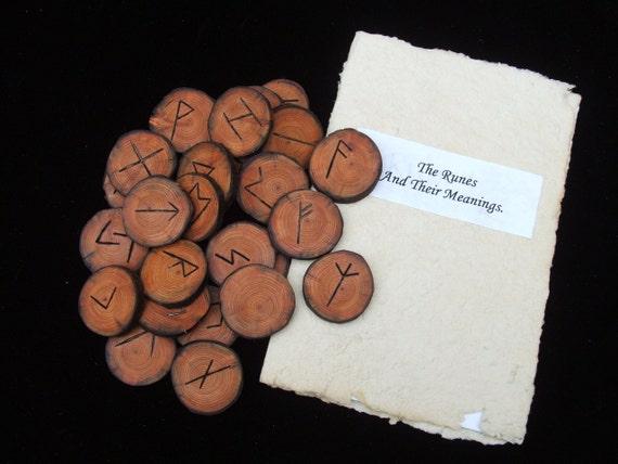 Handmade Larch Elder Futhark Rune Set.