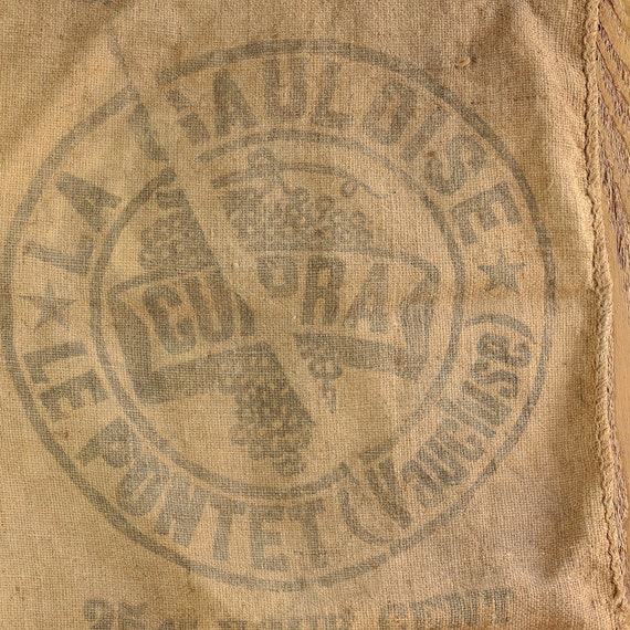 Vintage French Burlap Hessian Linen Sack, Lovely Faded Design, Ready to Re-Cycle or Up-Cycle