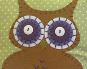 Green and Purple Owl Pillow