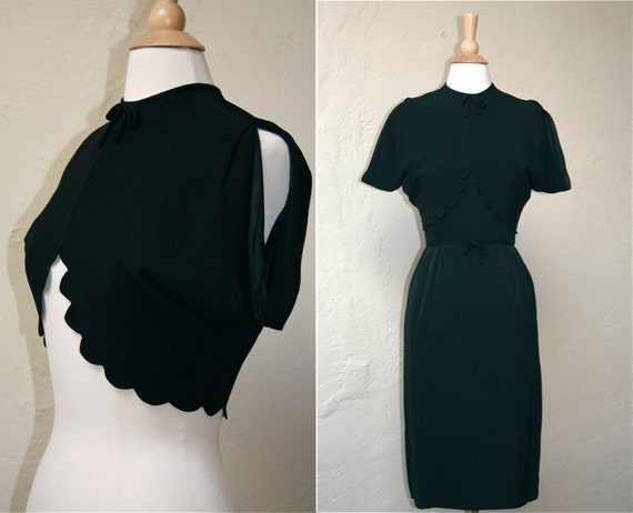 Vintage 1950s Black Scallop Dress and Jacket