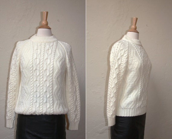 Vintage 1970s Cream Cable Sweater