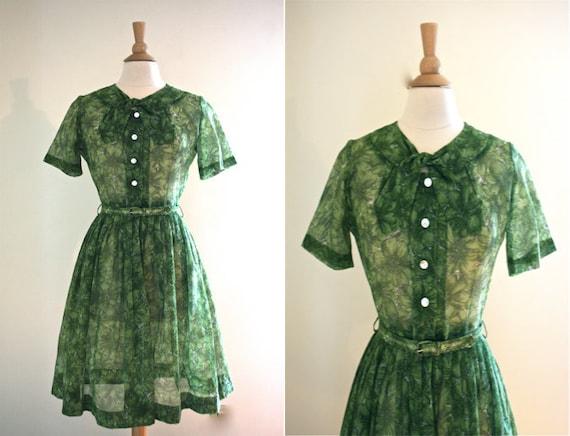 1950s Green Sheer Floral Shirt Dress