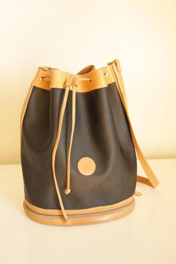 vintage leather black and tan bucket purse