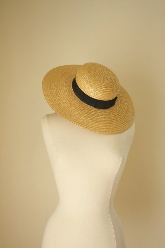 RESERVED vintage straw hat with black ribbon