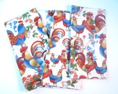Roosters French Country Cloth Napkins Red Blue Hemmed Mitered Corners Set of Four