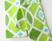 Cloth Napkins Green 18 Inch Dinner Ecofriendly Reversible Diamonds Leaves Blue Lime Set of Four