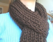 Hand Knit Scarf Chunky Chocolate Brown Fringe Long Thick Neck Warmer