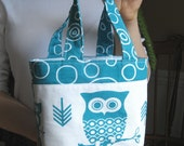 Purse Tote Owls Bag Turquoise White Cotton Duck Circles