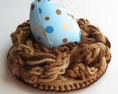 Pincushion Bird Egg Nest Pin Cushion Blue Dot