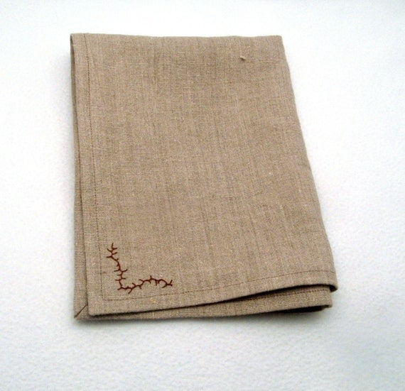 Linen Hand Towel Embroidery Tea Towel Place Mat Natural Rustic Tan Brown Hemmed Mitered Corners Handmade 17.75 X 13.75 Inch