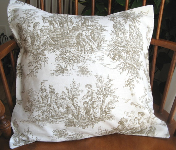 Pillow Cover Slipcover Colonial Toile Brown Taupe Washable 18 Inch