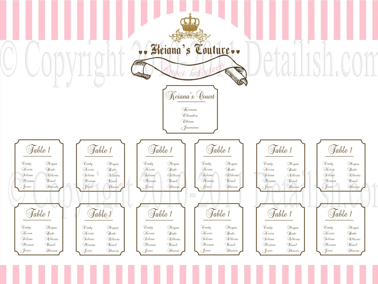 printable juicy couture inspired seating by lillymilliestudio for bridal shower seating chart template