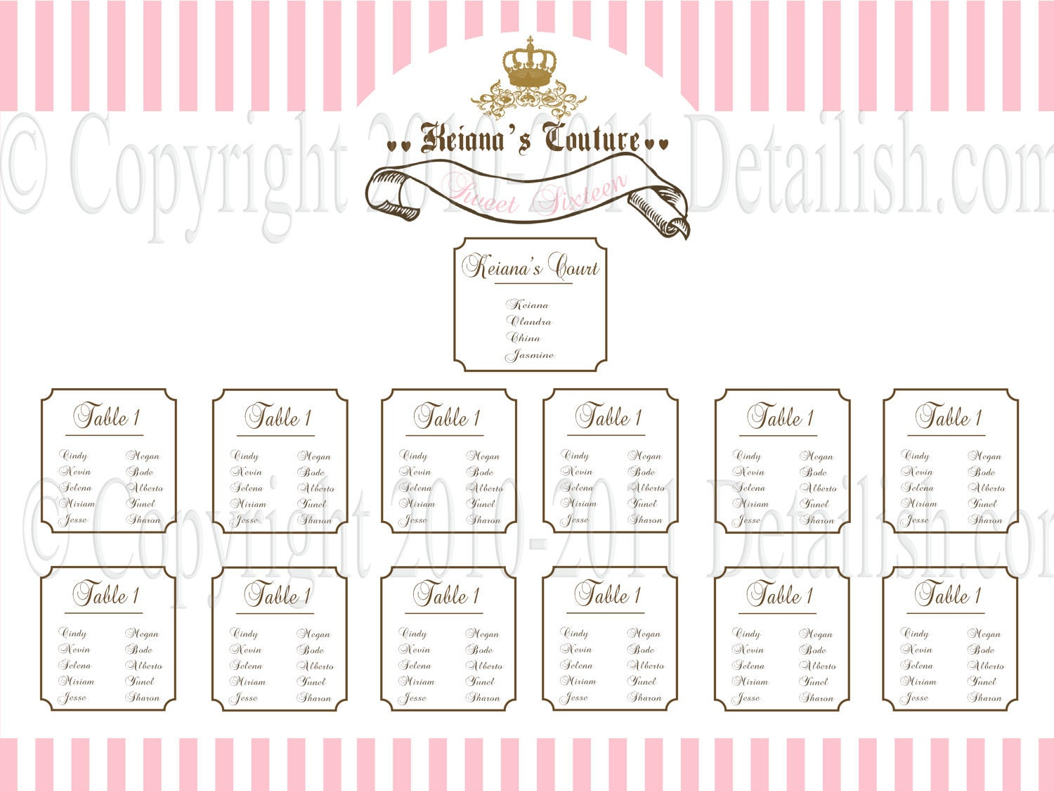 blank wedding seating chart