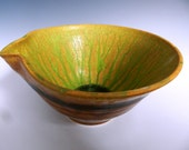 Golden mixing bowl with rain forest green