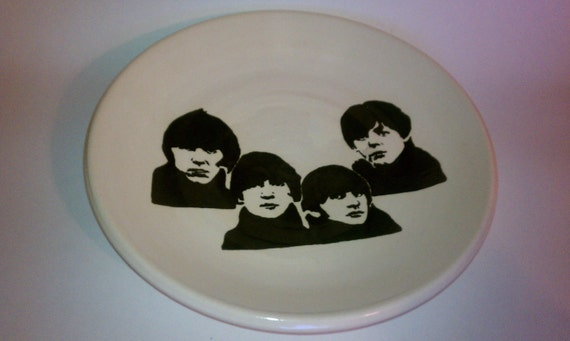 Ceramic Beatles platter hand thrown and painted