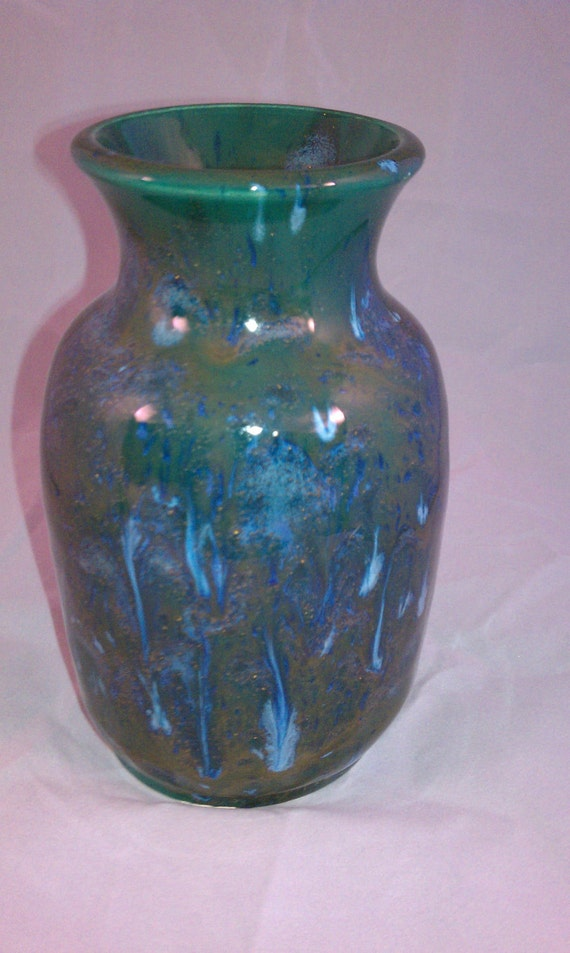 Blue , green, and gold frosted crystal vase