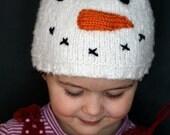 Snowman Hat, Infant Baby sizes, Warm Winter Handmade Knitting