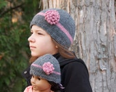 Child and doll matching hat set, grey and pink flower, handmade knitting, winter cloche for girls