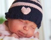 Baby Heart hat booties Valentine gift set, navy blue pink stripes, knitting, size 3-6 months