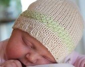 Newborn Gift Set, Hat and Booties, size 0-6 months, unisex, ivory green, Handmade knitting
