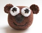 Brown Bear Stuffed Animal, Amigurumi, Baby handmade knit toy