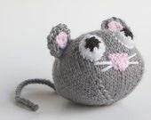 Knitted Toy Mouse stuffed animal, amigurumi, handmade knitting