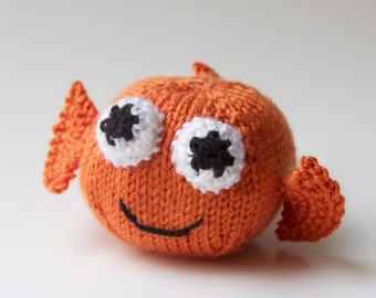 Goldfish Toy Stuffed Animal, Amigurumi, Handmade Plush Knit Ball
