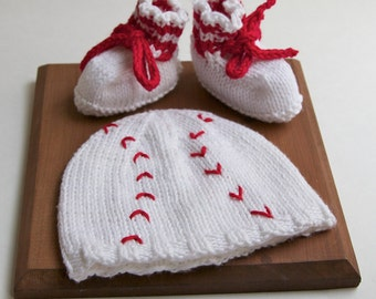 Infant Baseball Knitted Hat and Booties gift set, baby size 0-6 months, red white, knitting