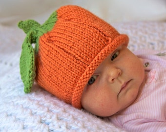 Pumpkin Knitted Baby Hat, Infant Toddler Child sizes, Fall, Halloween, Thanksgiving, Handmade knitting