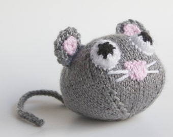 Knitted Toy Mouse stuffed animal, amigurumi, handmade knitting