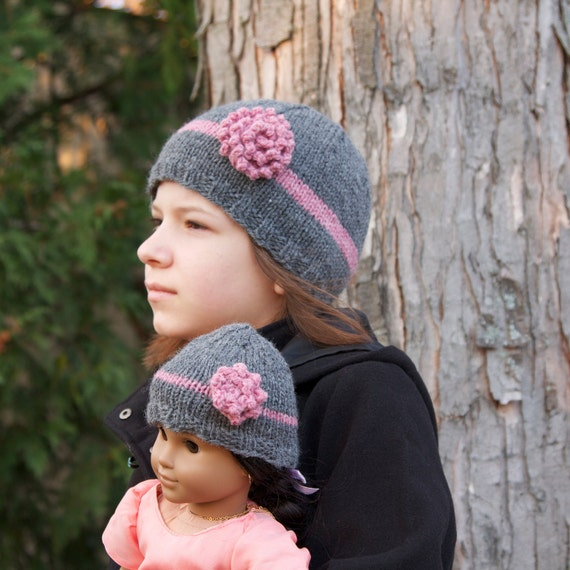 Child and doll matching hat set, grey and pink flower, handmade knitting, winter hat for girls
