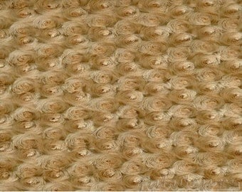 Camel Rose Bud Minky fabric per yard