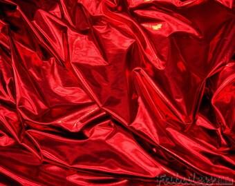 "Spandex Red Metallic Lycra swimsuit custom fabric per yard 60"" Wide"