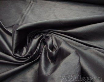 Black Shantung Dupioni Faux Silk fabric per yard