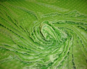 Lime Minky Dimple Dot baby blanket Fur fabric 60""