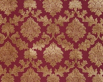 10 Yards Pomegranite Damask Chenille Upholstery and Drapery fabric